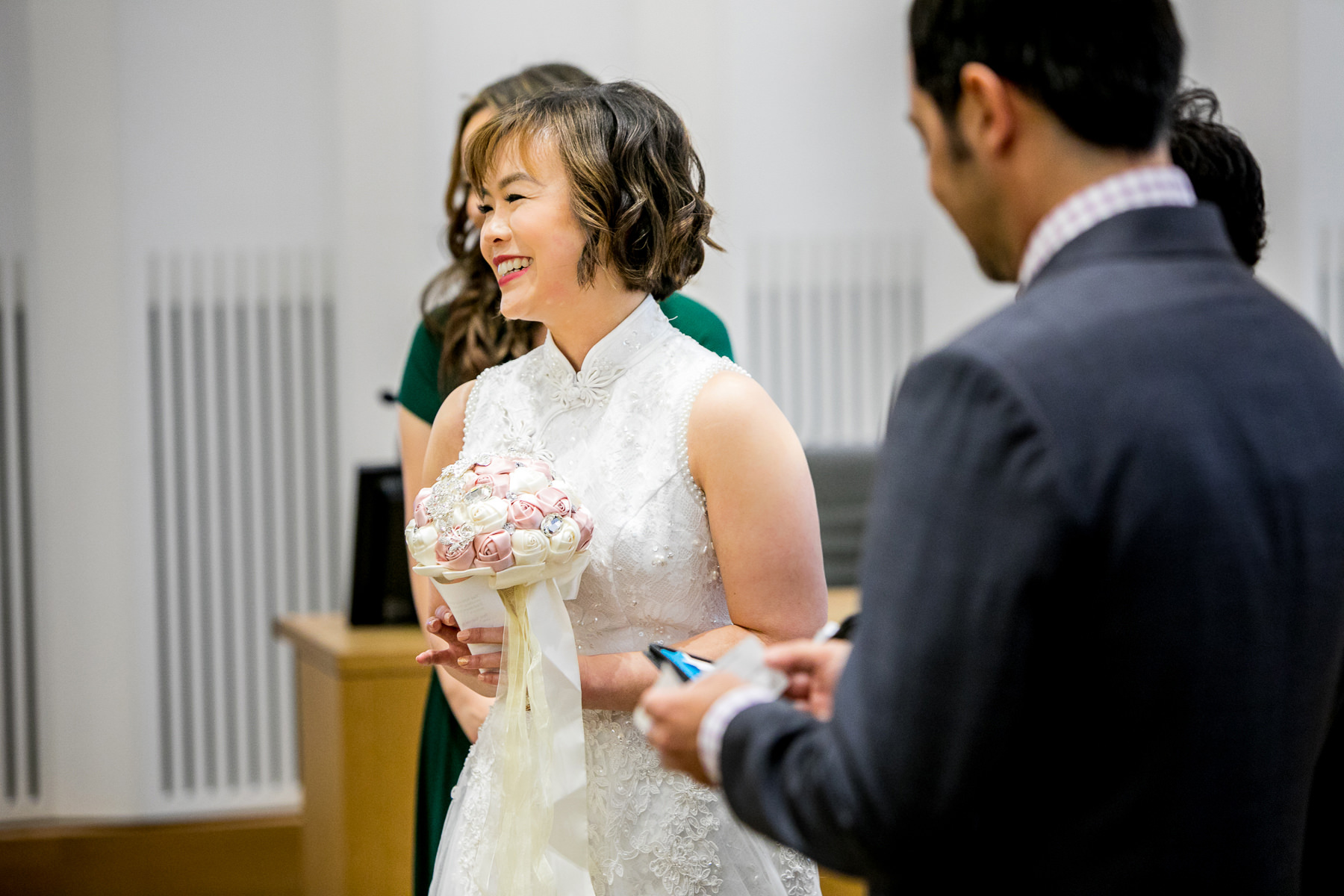 bride and groom share joint vows during wedding in los angeles photographer
