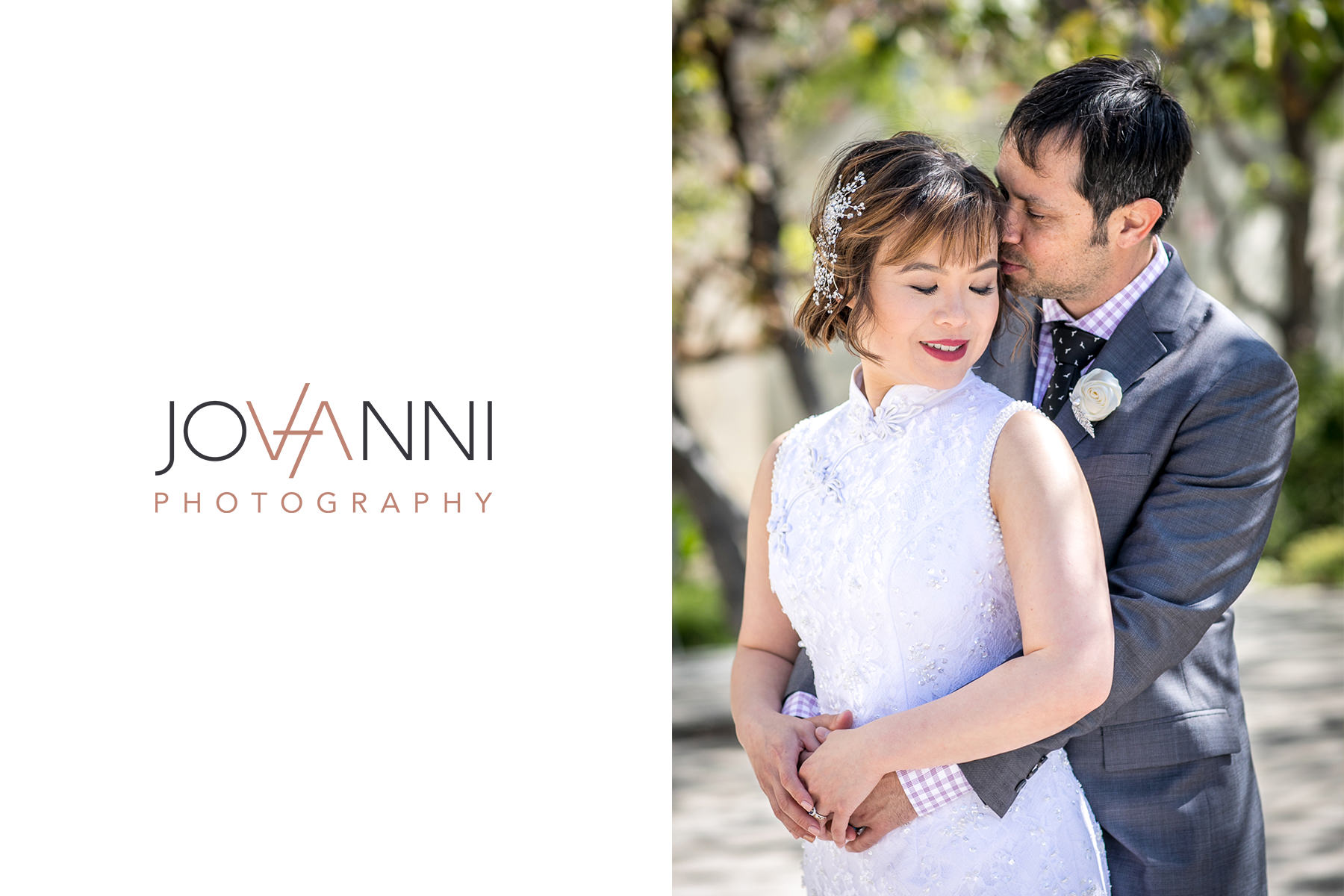 groom whispers sweet nothings into bride's ear in los angeles wedding photography