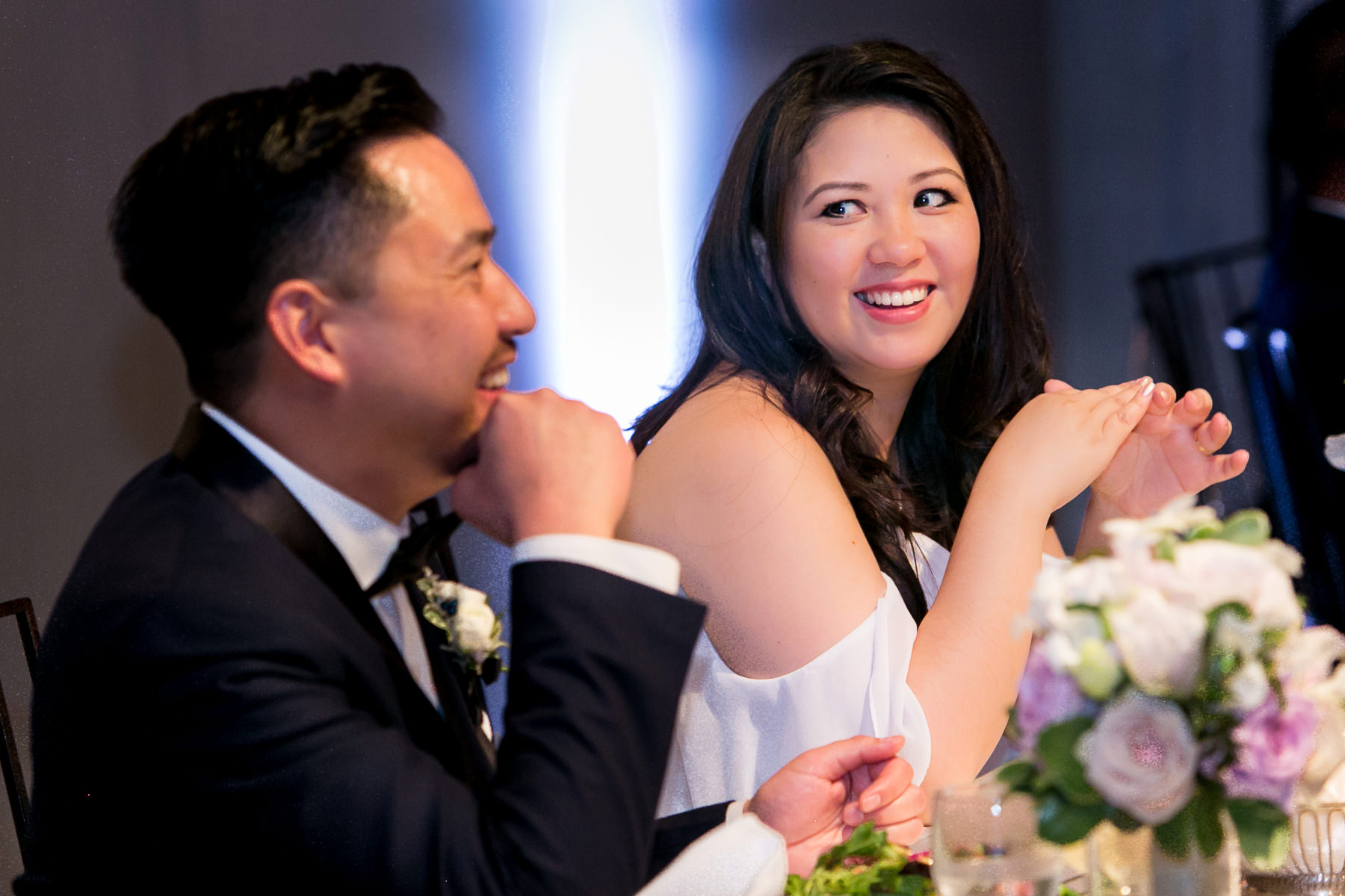 bride give groom loving look during speeches at pasadena wedding photographer