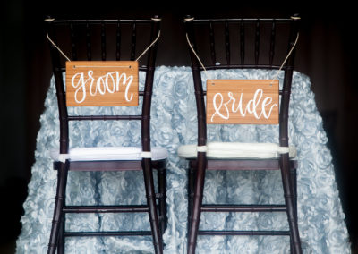 030 - bride and groom reception chair labels