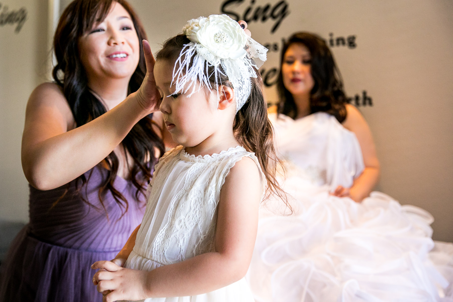 flower girl hairpiece getting ready for wedding at noor pasadena photographer