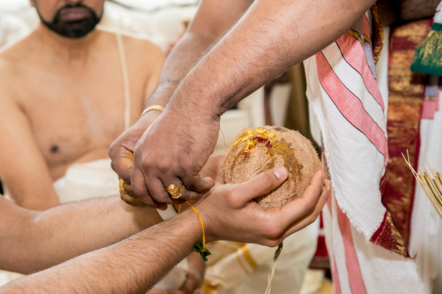 janya ceremony sacred thread tied to indian groom in indian wedding in whittier