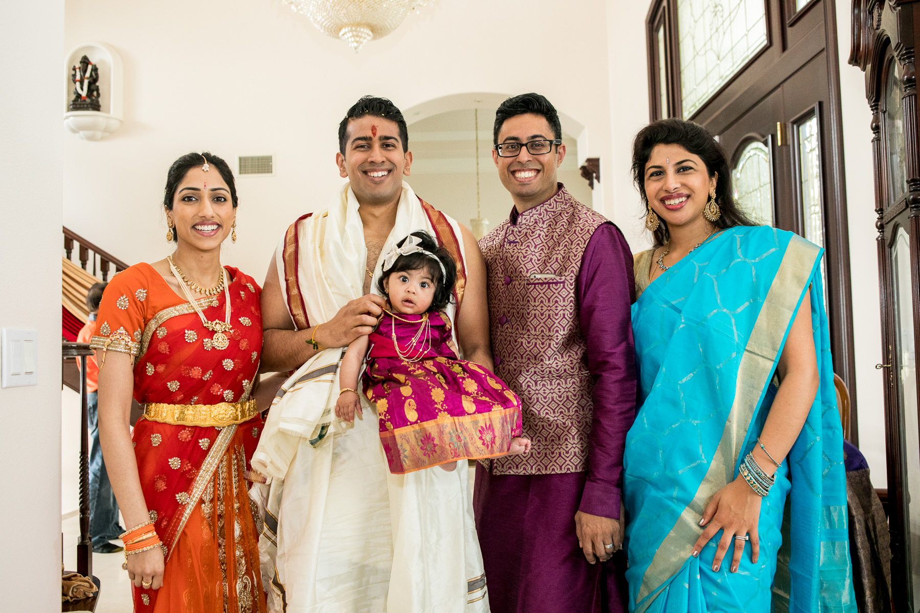 portrait of indian family sibilings during wedding day