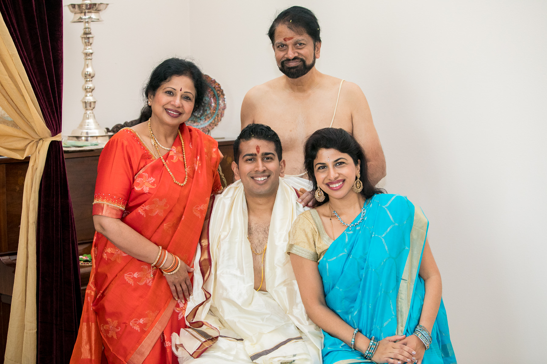 indian family portrait during pre hindu wedding rituals