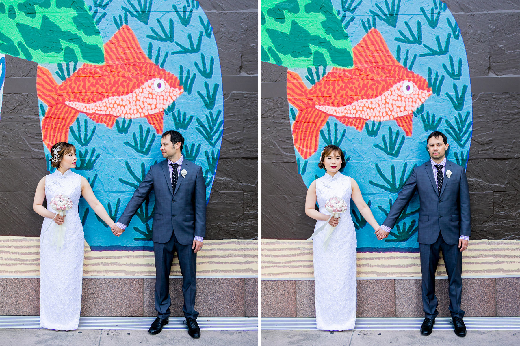 serious shot of bride and groom holding hands at MOCA in los angeles wedding photographer