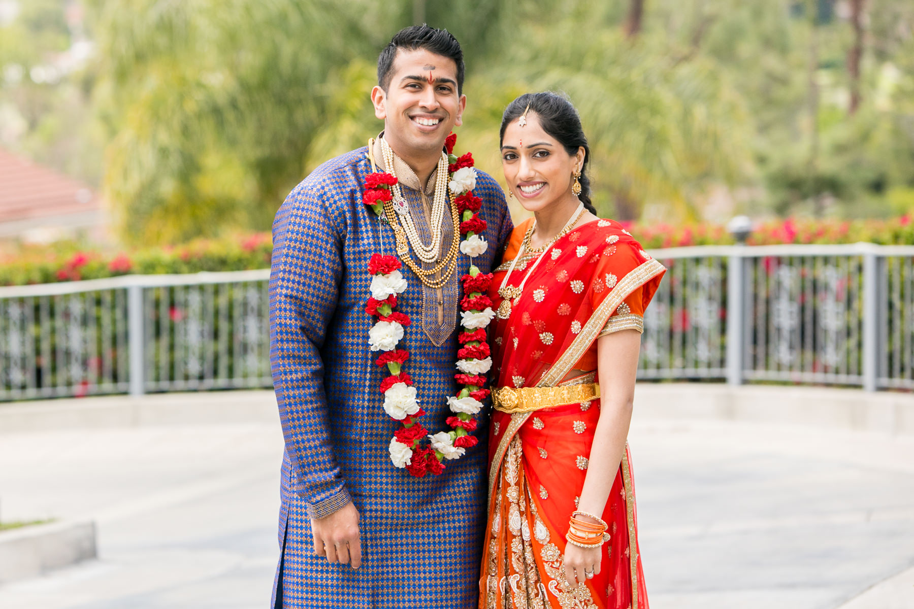 standard portrait of indian groom and bride in sari during indian wedding photographer in southern california