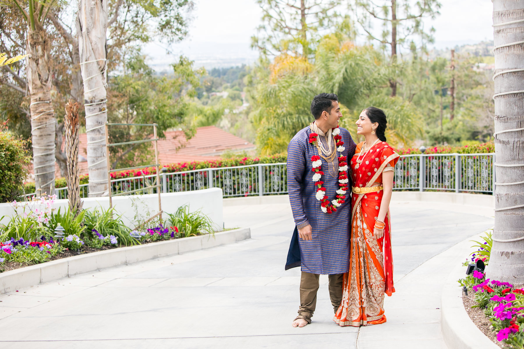 wide portrait of bride and groom at private residence in whittier wedding photographer