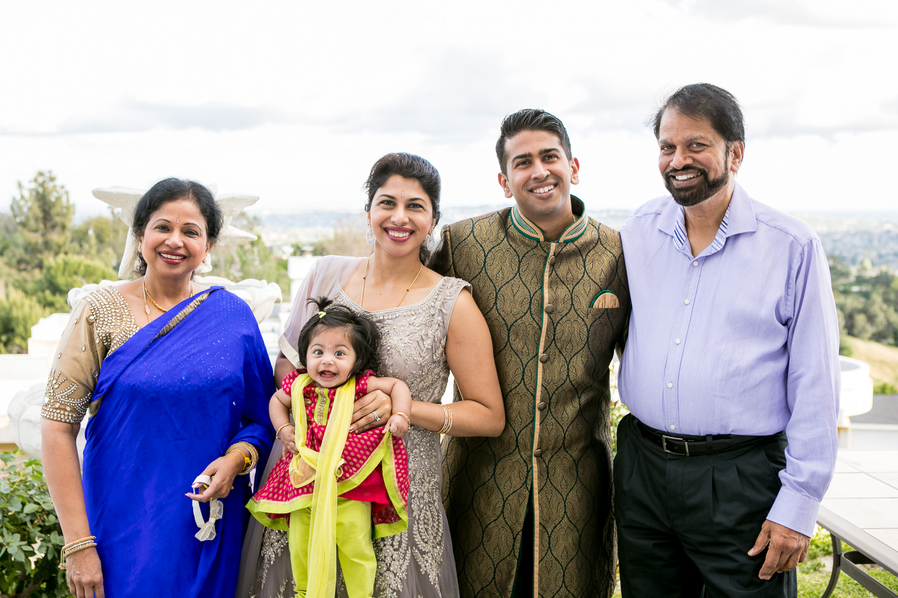 standard portrait of indian groom and his immediate family in whittier wedding photography