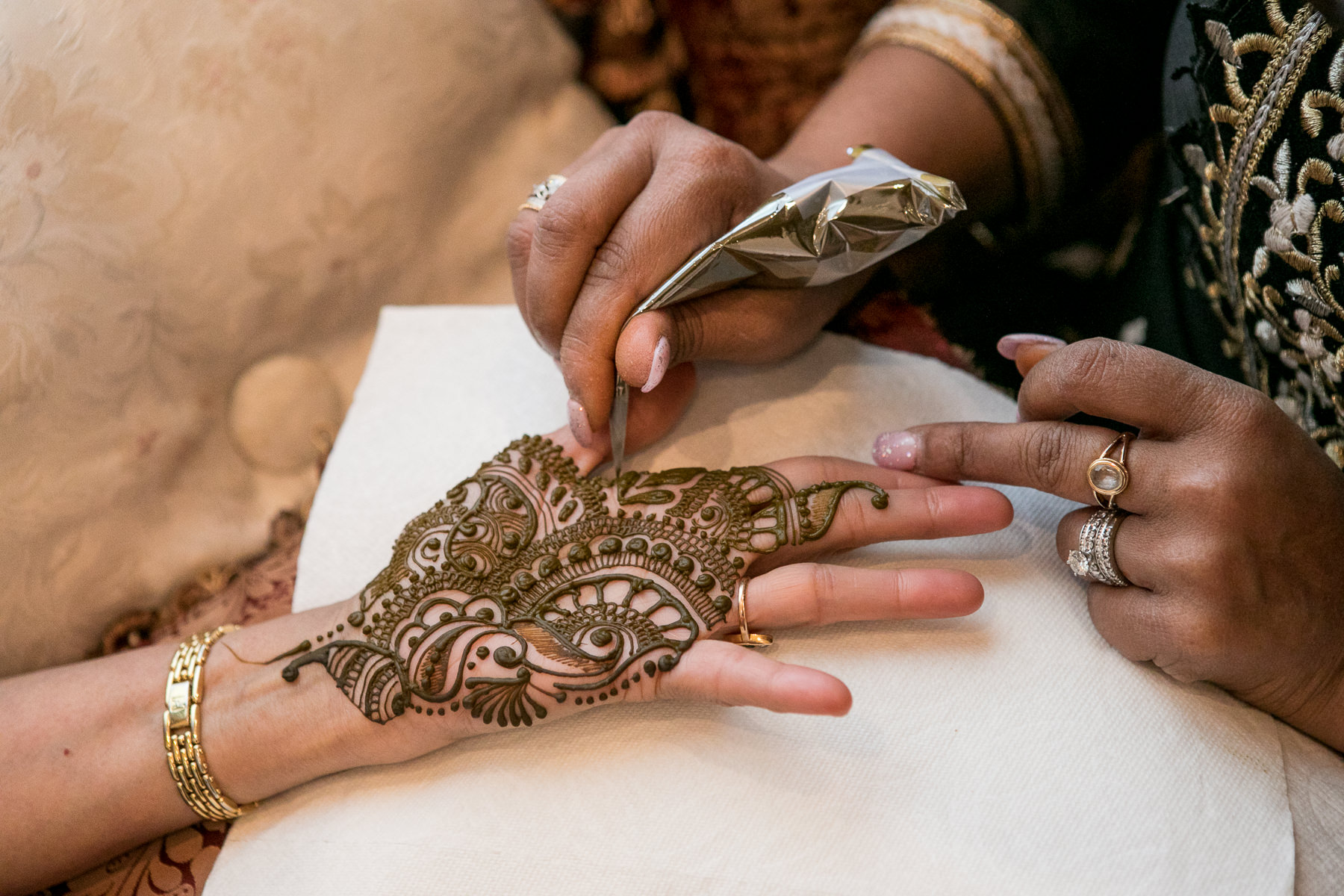 close up of henna design on palm of the hand during mendhi wedding ceremony photography