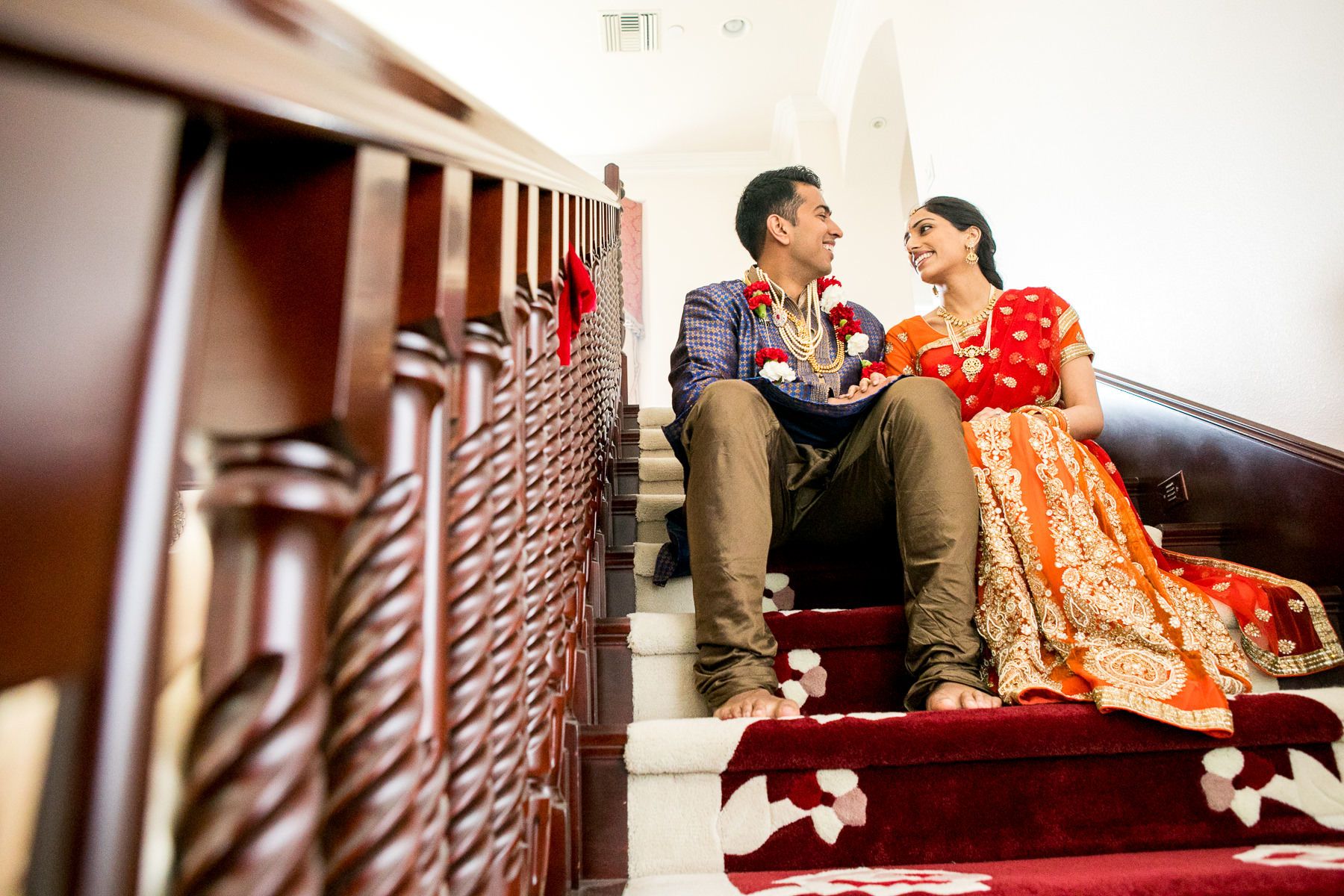 romantic portrait of bride and groom on stairs in whittier wedding photographer