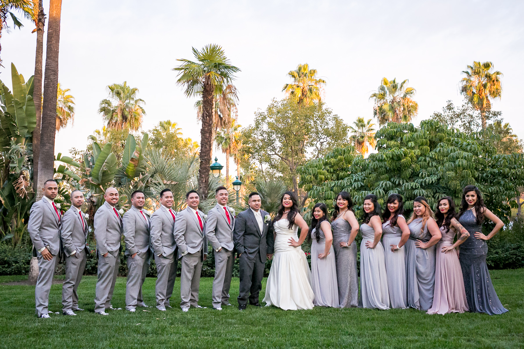 Standard Portrait Of Wedding Party At Disneyland Hotel Photos