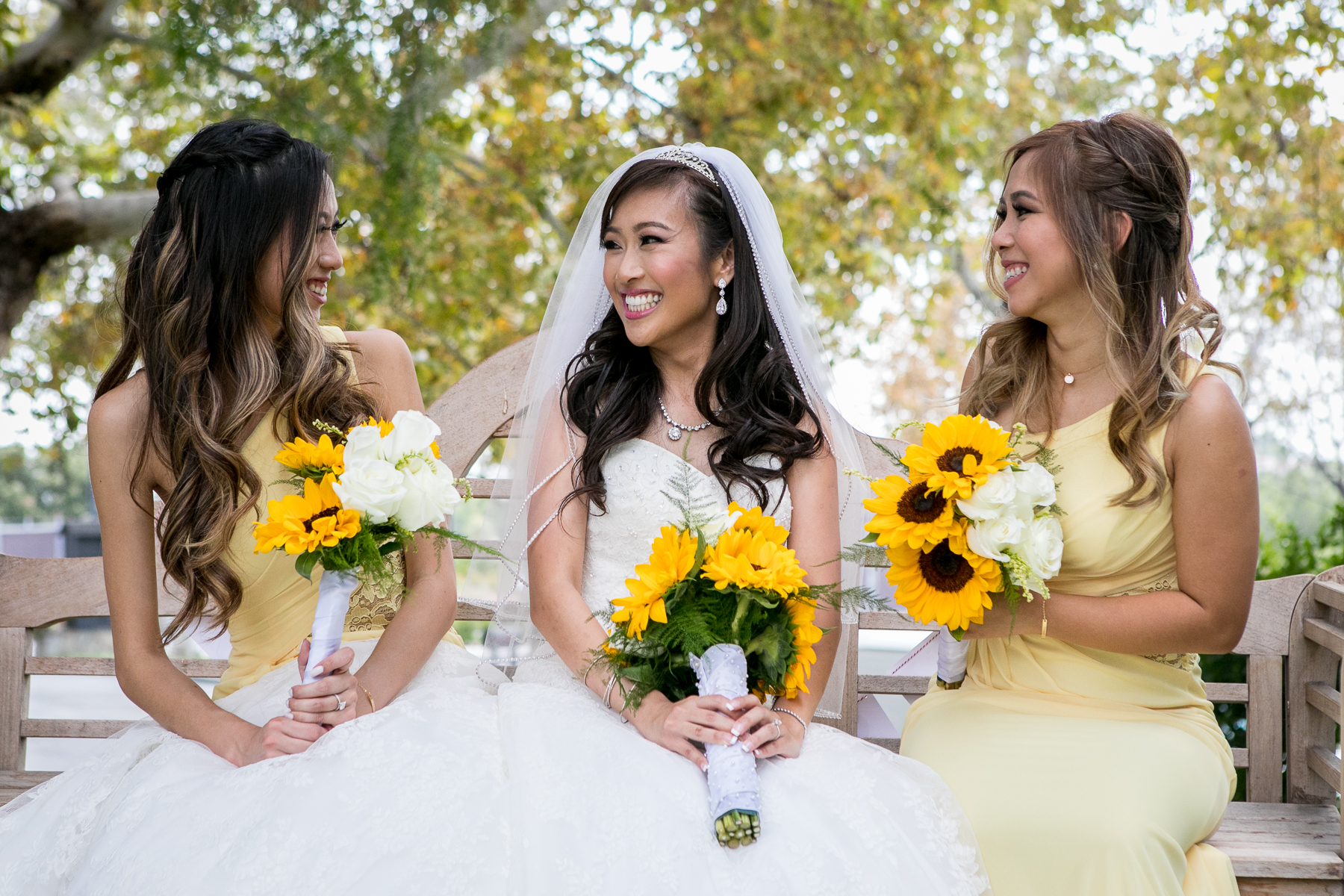 bride with bridesmaids at summit house wedding