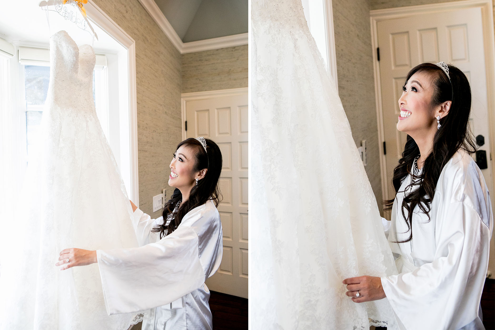 bride looks and fluffs wedding dress while getting ready at summit house wedding
