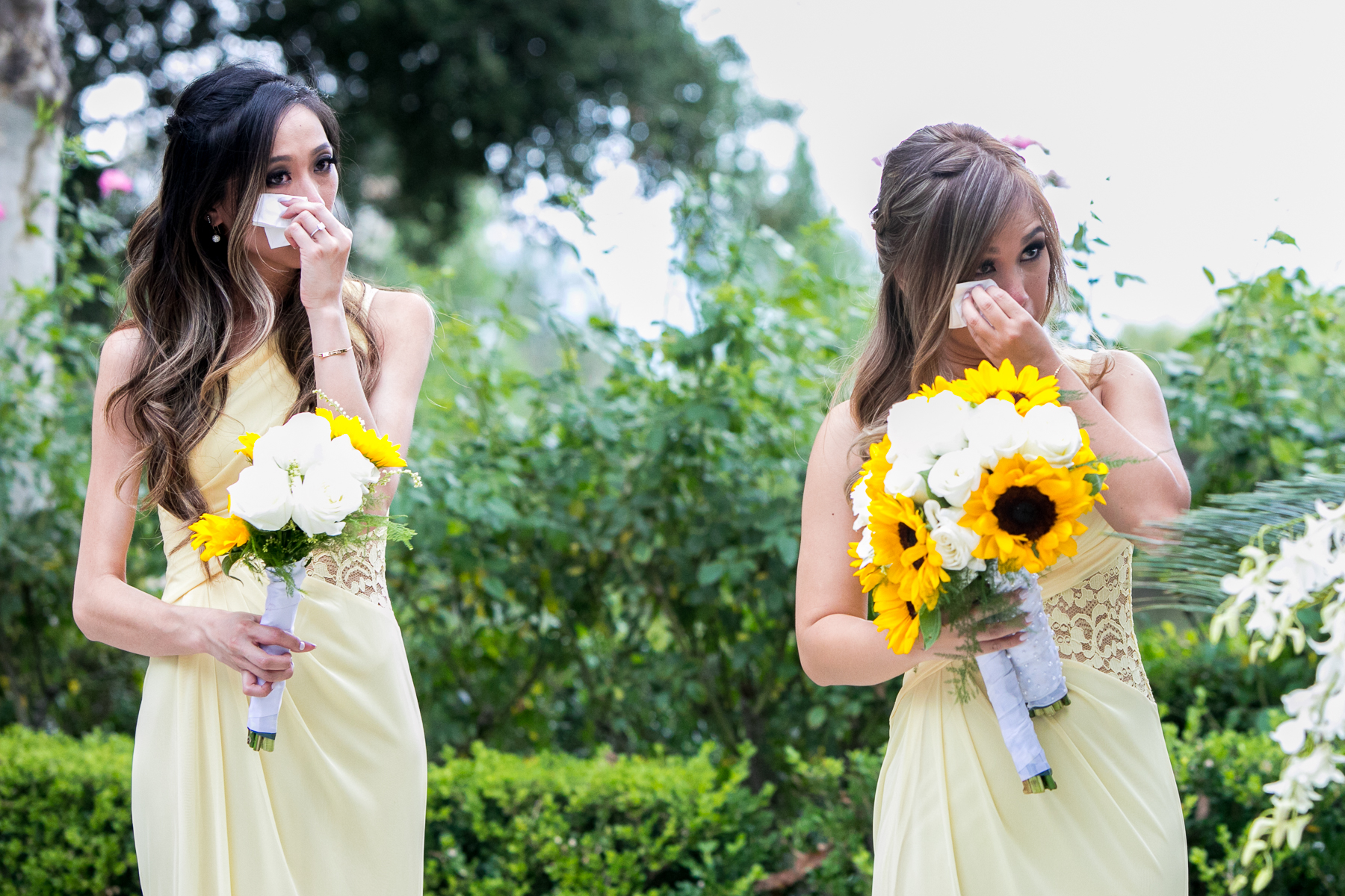 bridesmaids cry during wedding vows at summit house fullerton