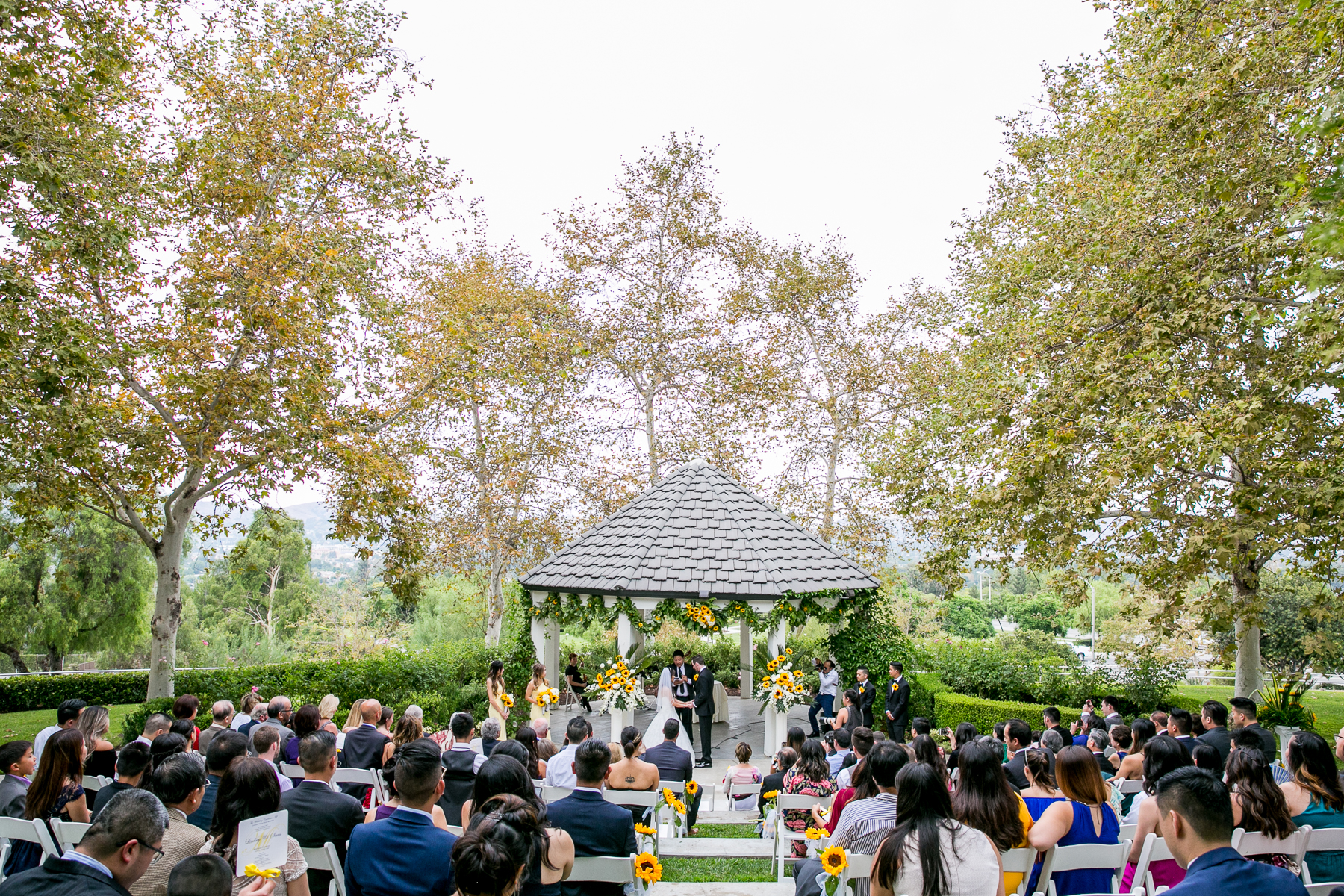 wide shot of wedding ceremony at summit house fullerton