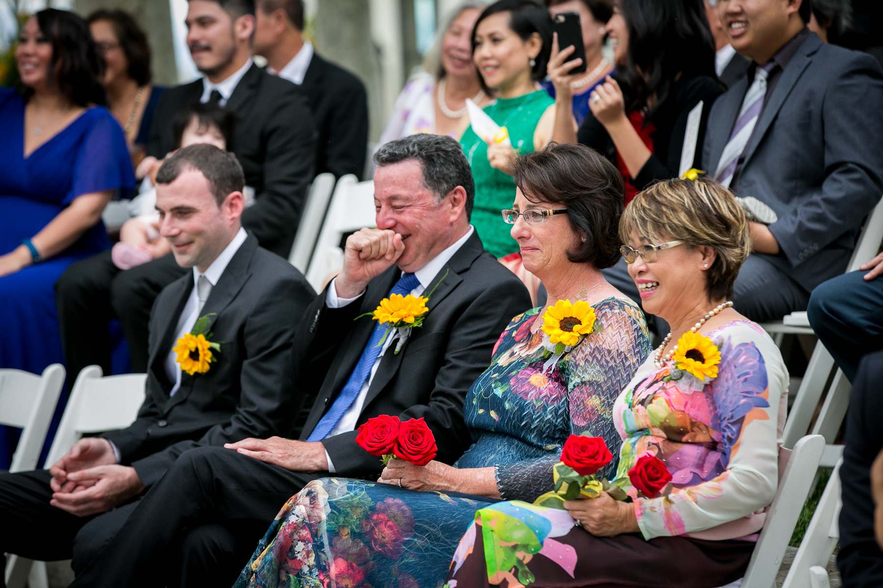 parents mixed emotions during wedding vows at summit house wedding photos