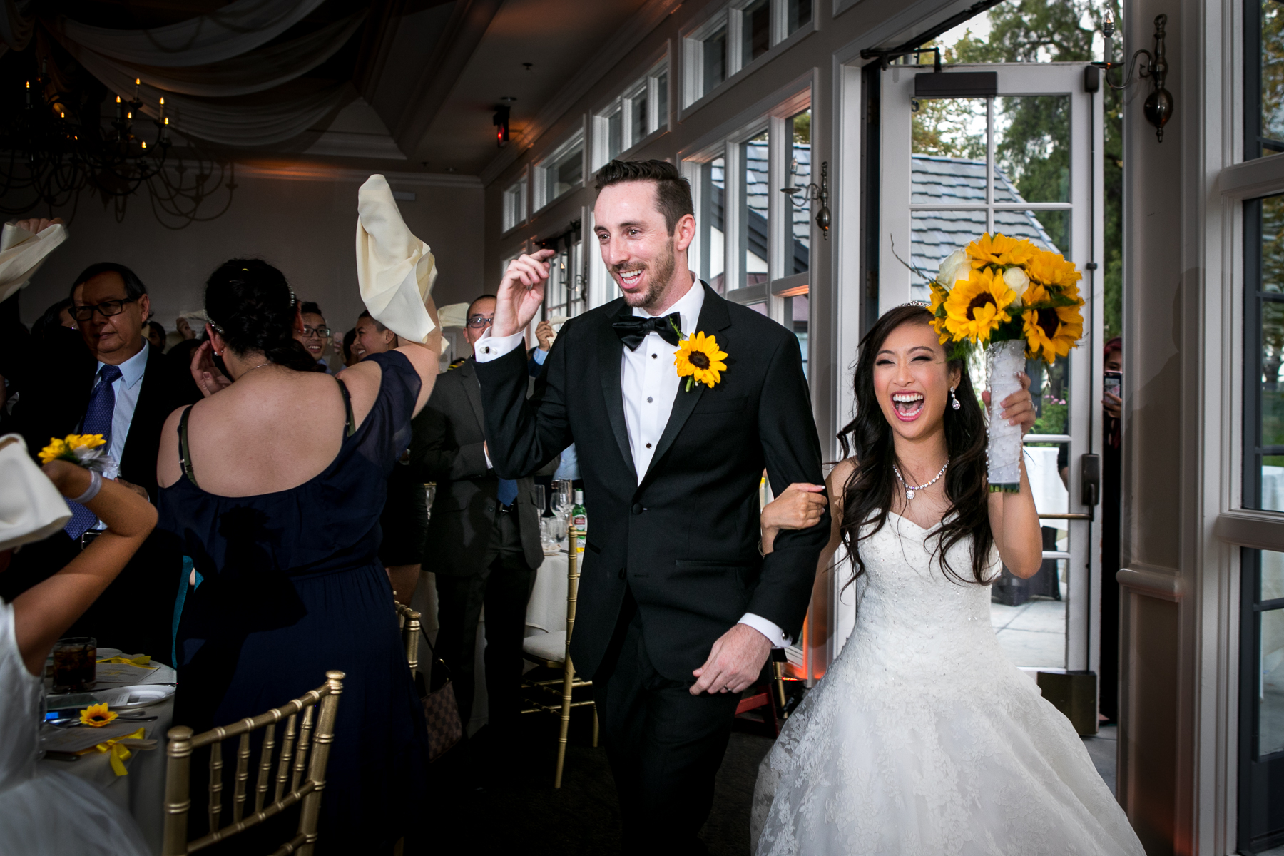 bride and groom grand entrance at summit house wedding reception