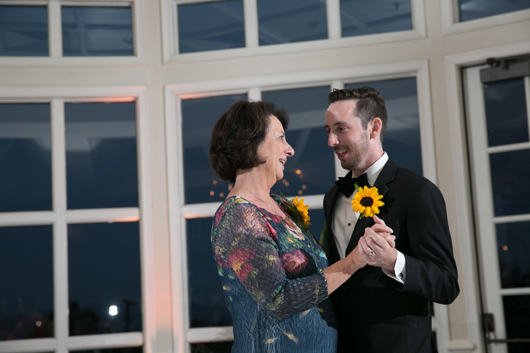mother and groom dance during reception at summit house wedding photos