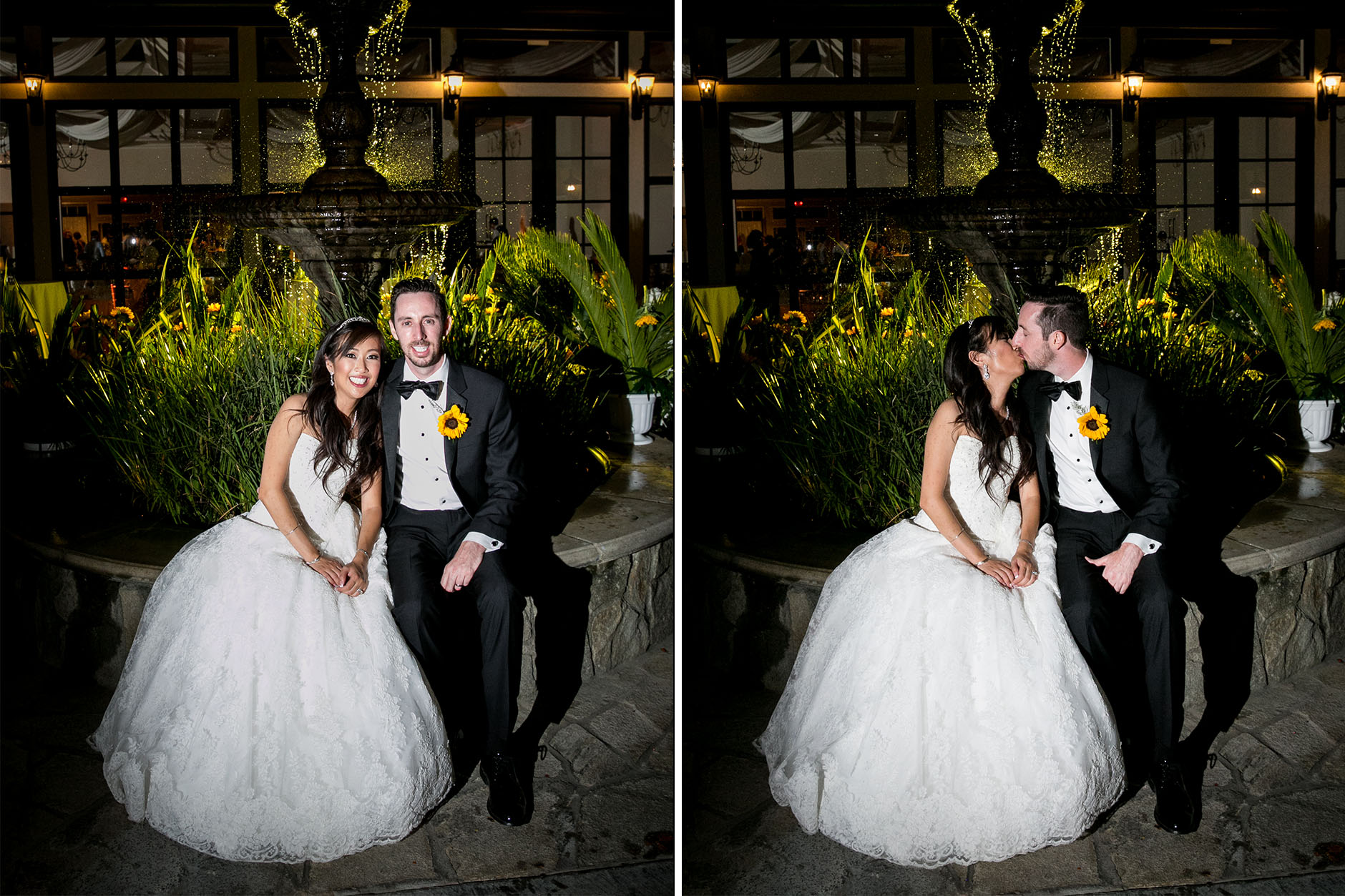 night time portraits of bride and groom in front of fountain at summit house wedding