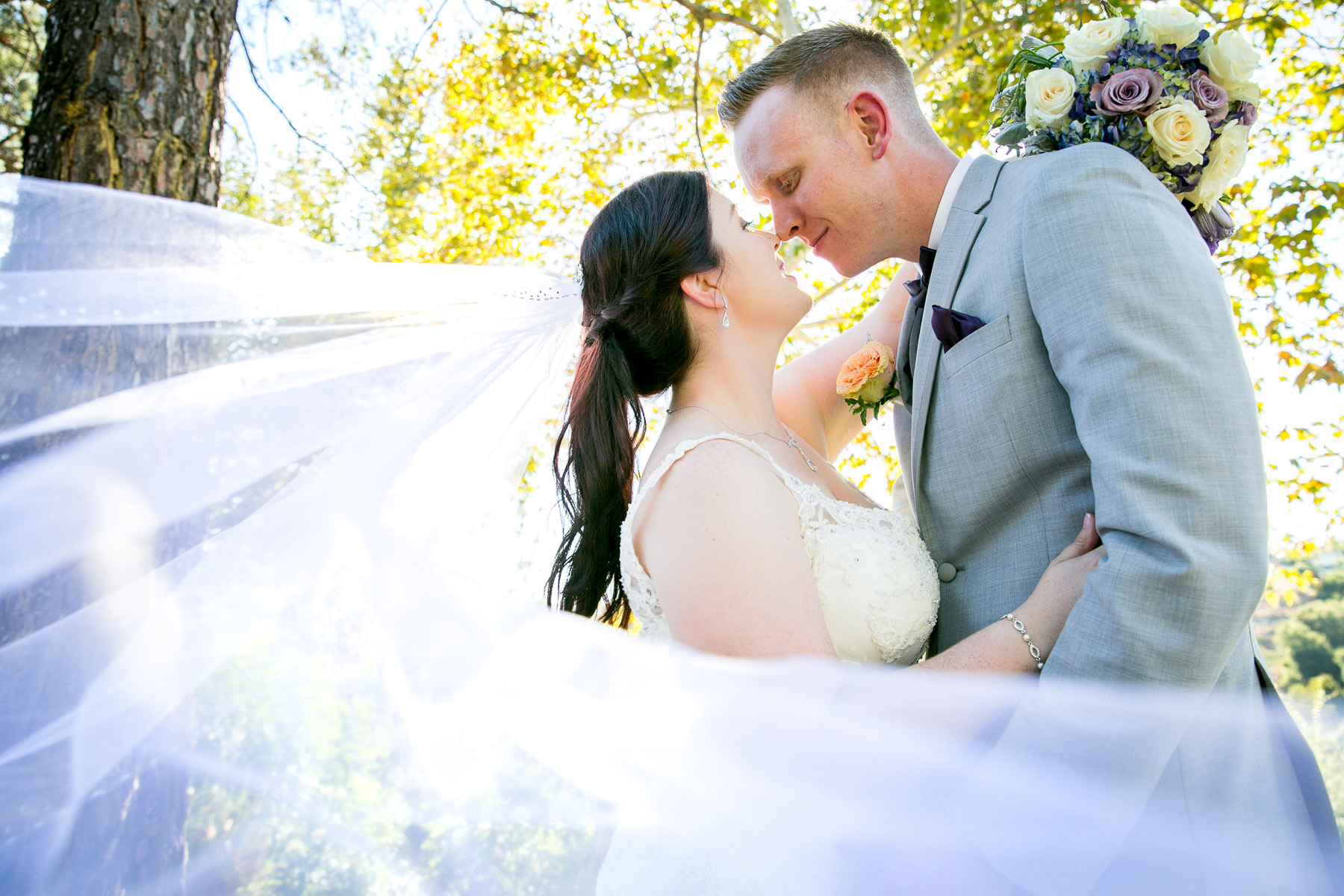 romantic pose bride and groom wedding at dove canyon rancho santa margarita wedding