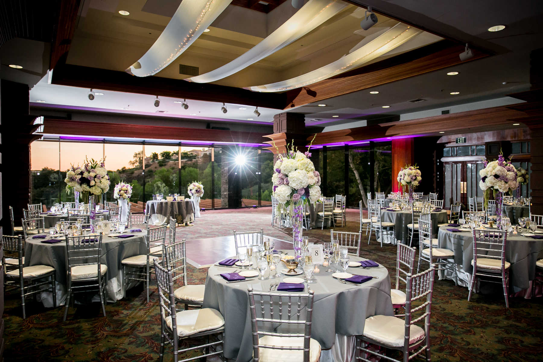 wide shot of dove canyon golf course ballroom wedding in orange county