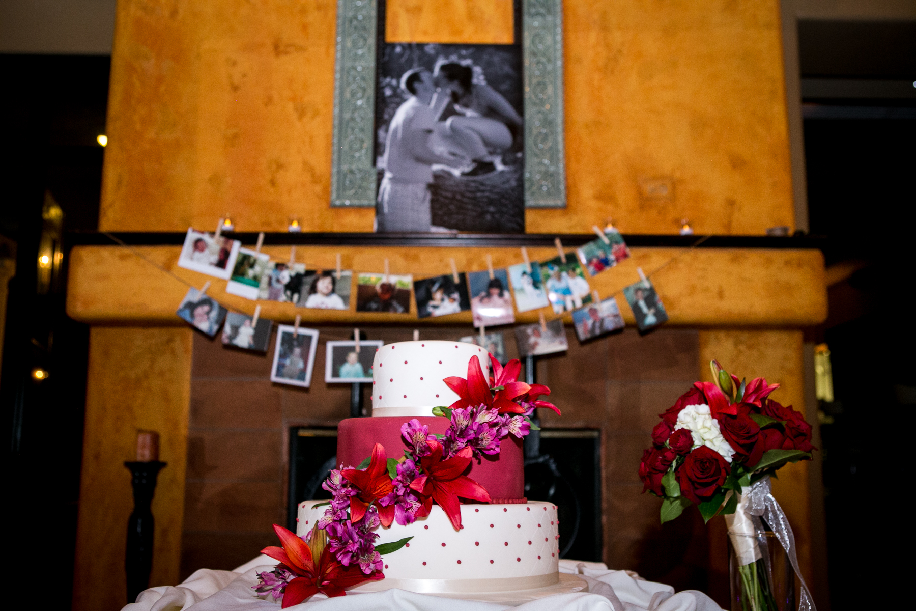 wedding cake florals in front of fireplace corona golf course wedding photographer