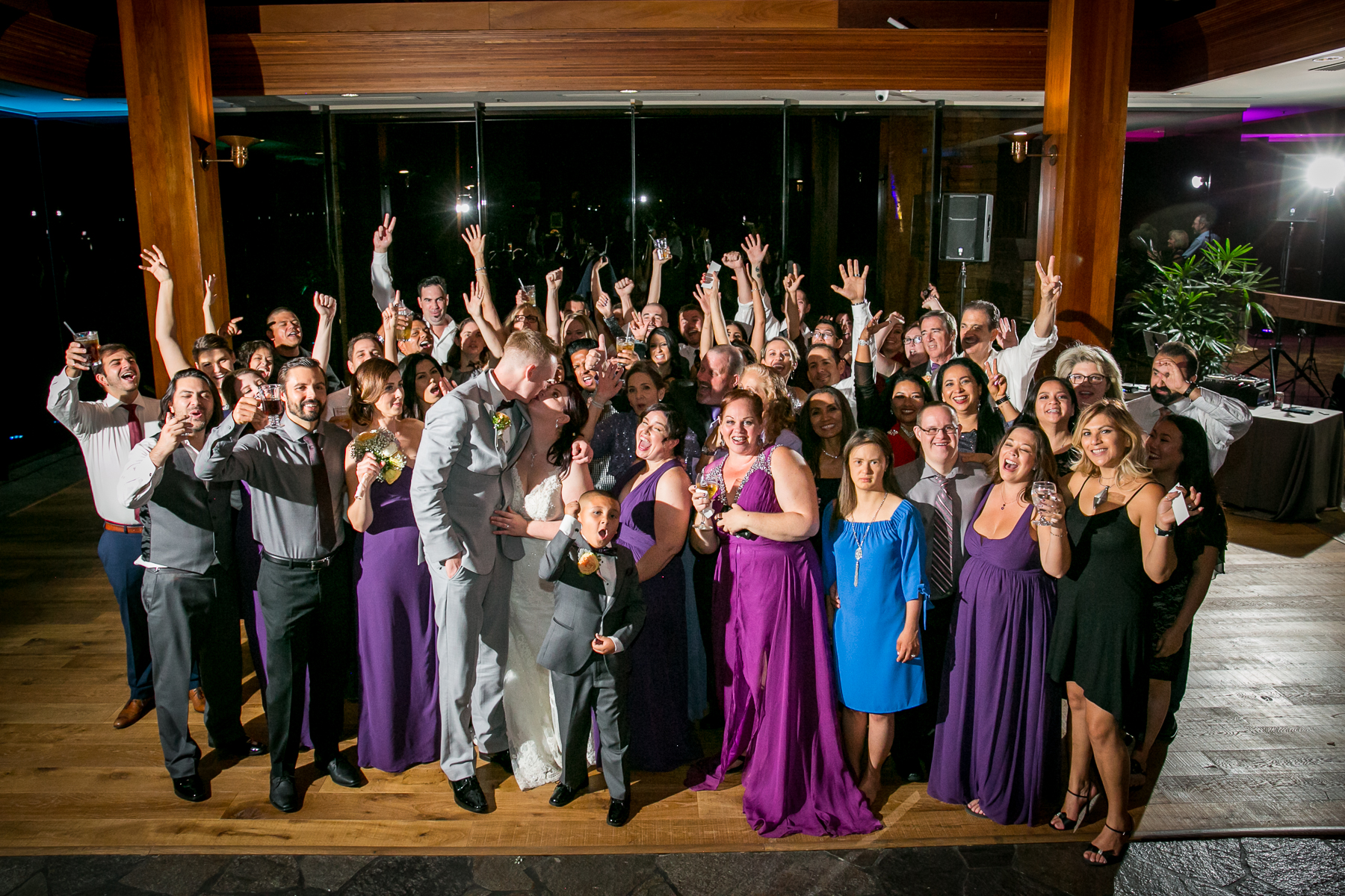 big group photo of all the guests at dove canyon wedding photographer