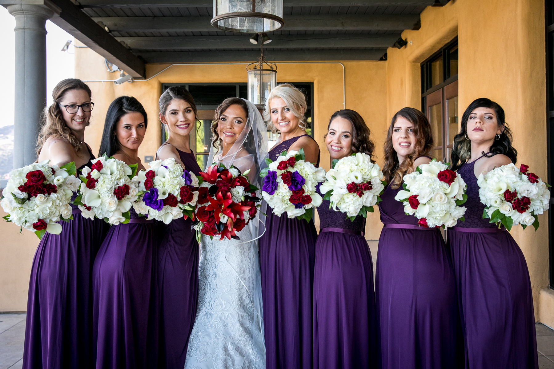 bride and bridesmaids bouquets wedding at the retreat corona photographer