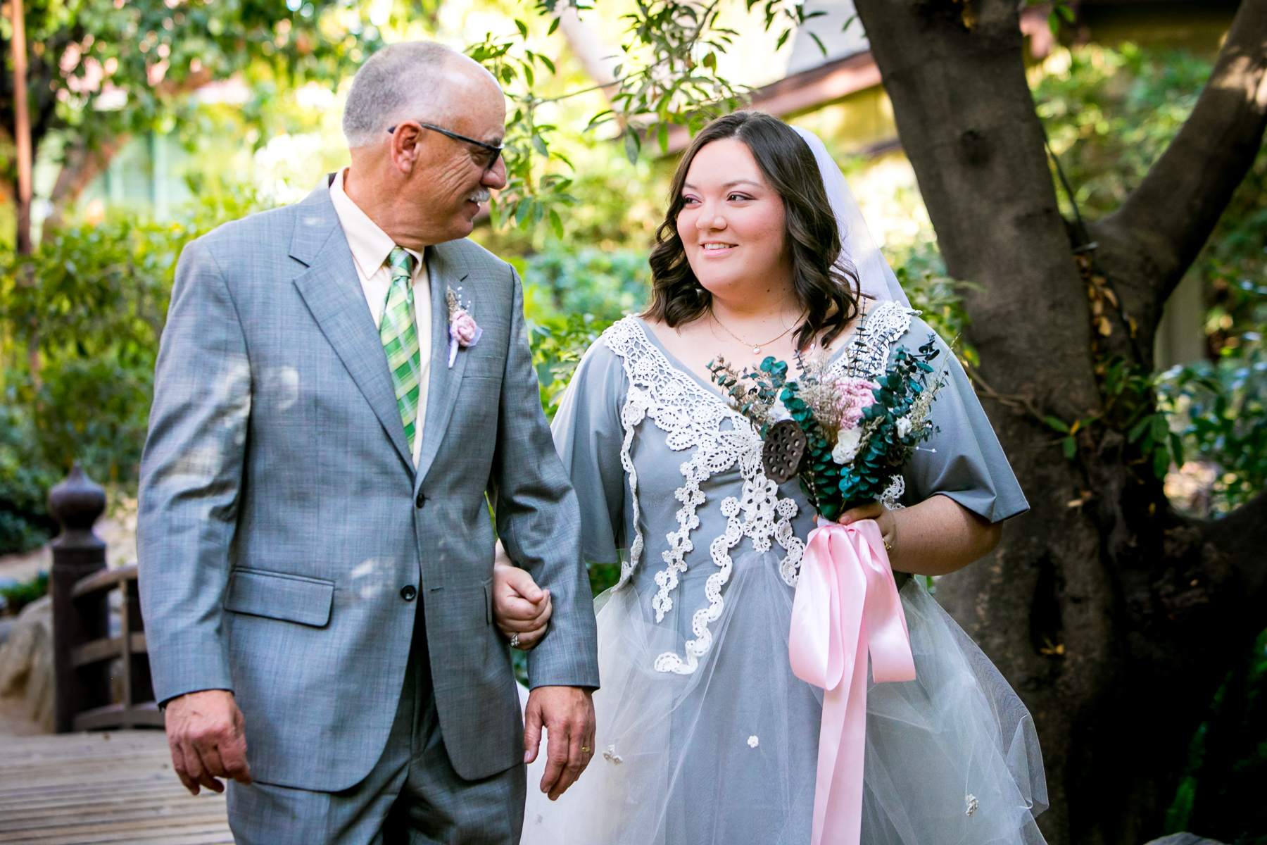 father of bride walks her down the aisle at pasadena wedding photography
