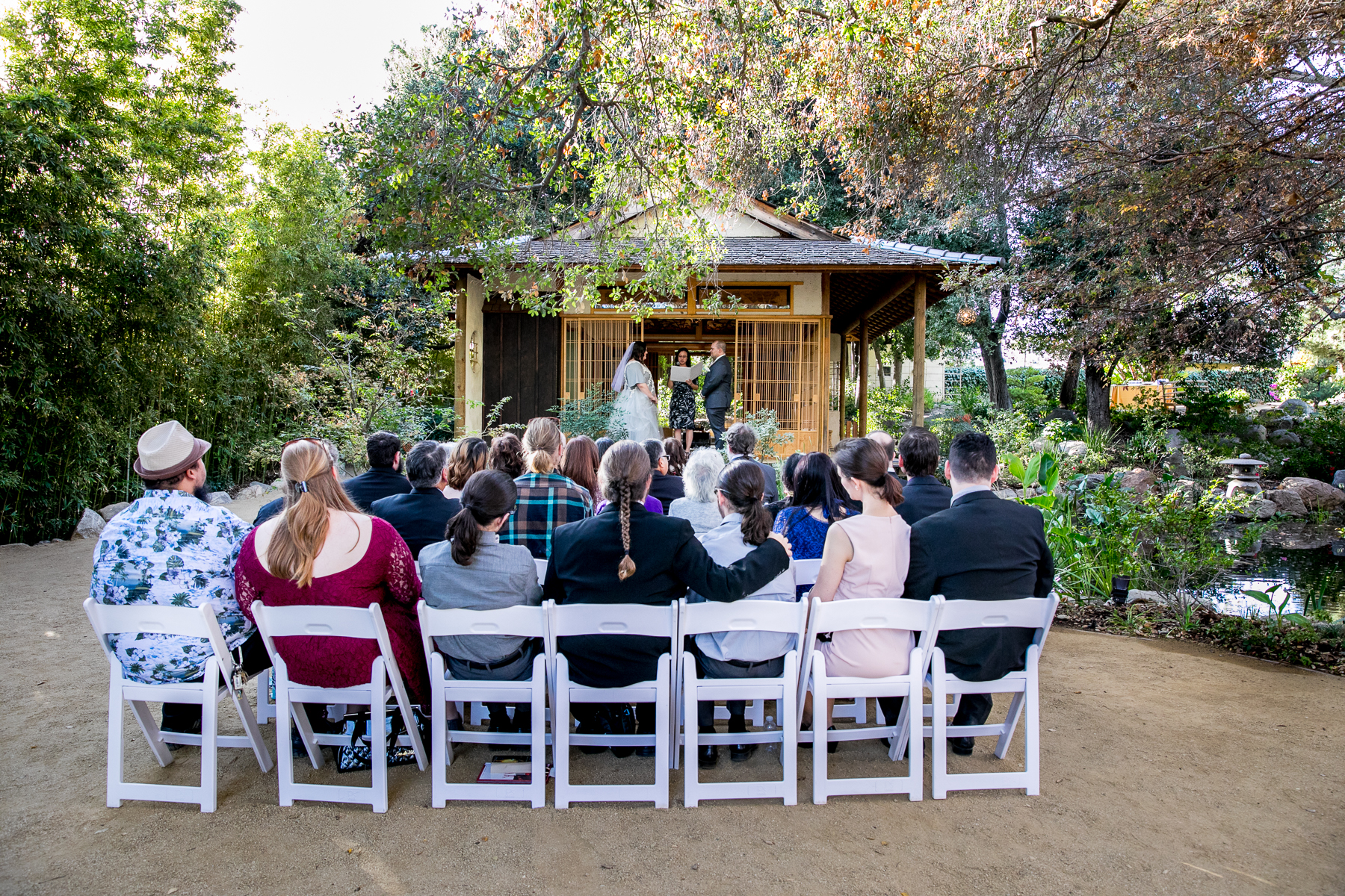 small, intimate wedding ceremony at storrier stearns japanese garden in pasadena photographer