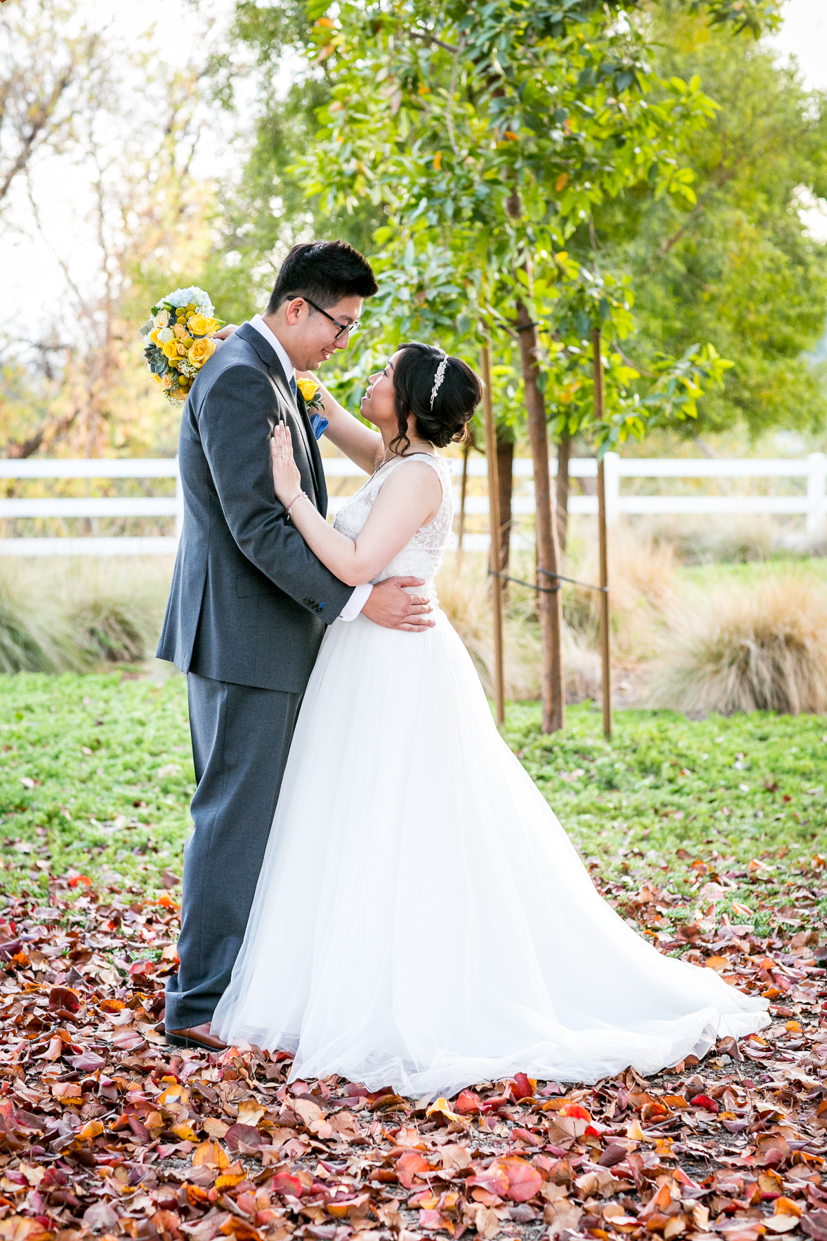portrait of bride and groom looking deeply into each other's eyes at chino hills wedding photographer