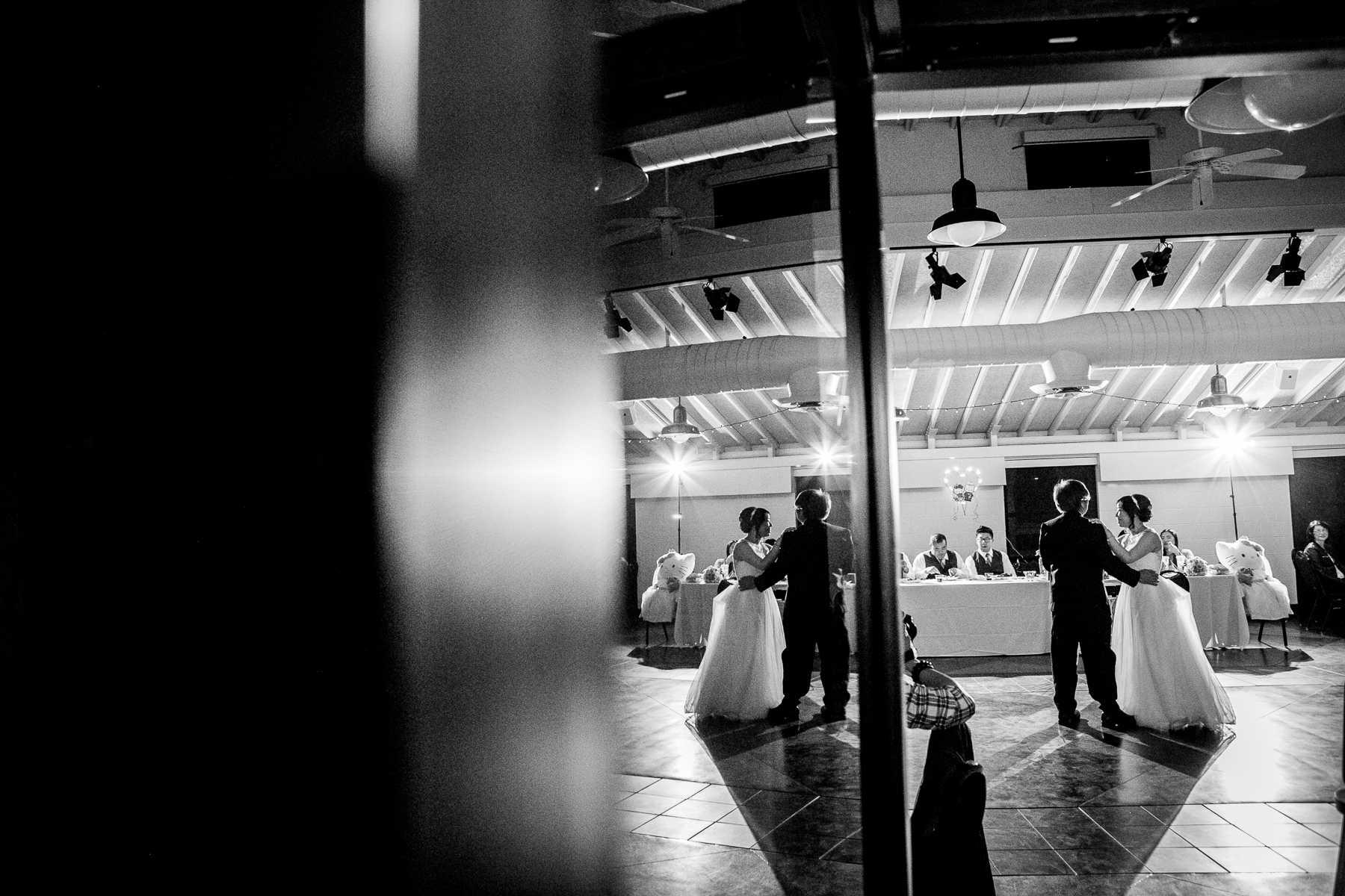 black and white father daughter dance at wedding in chino hills photographer