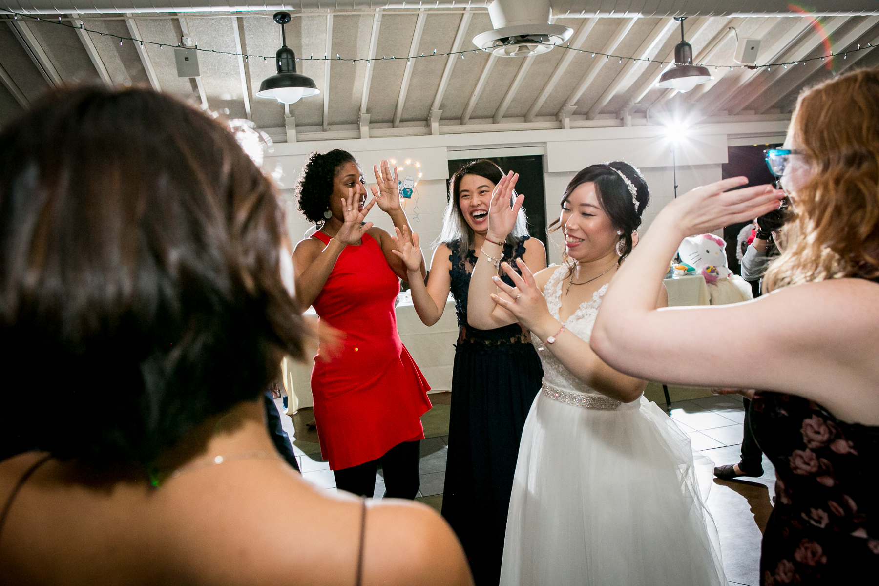 bride dances in middle of dance floor at wedding photos in chino hills
