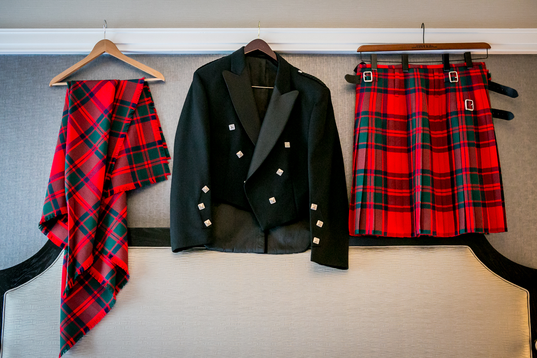 scottish groom kilt and shoulder plaid for wedding