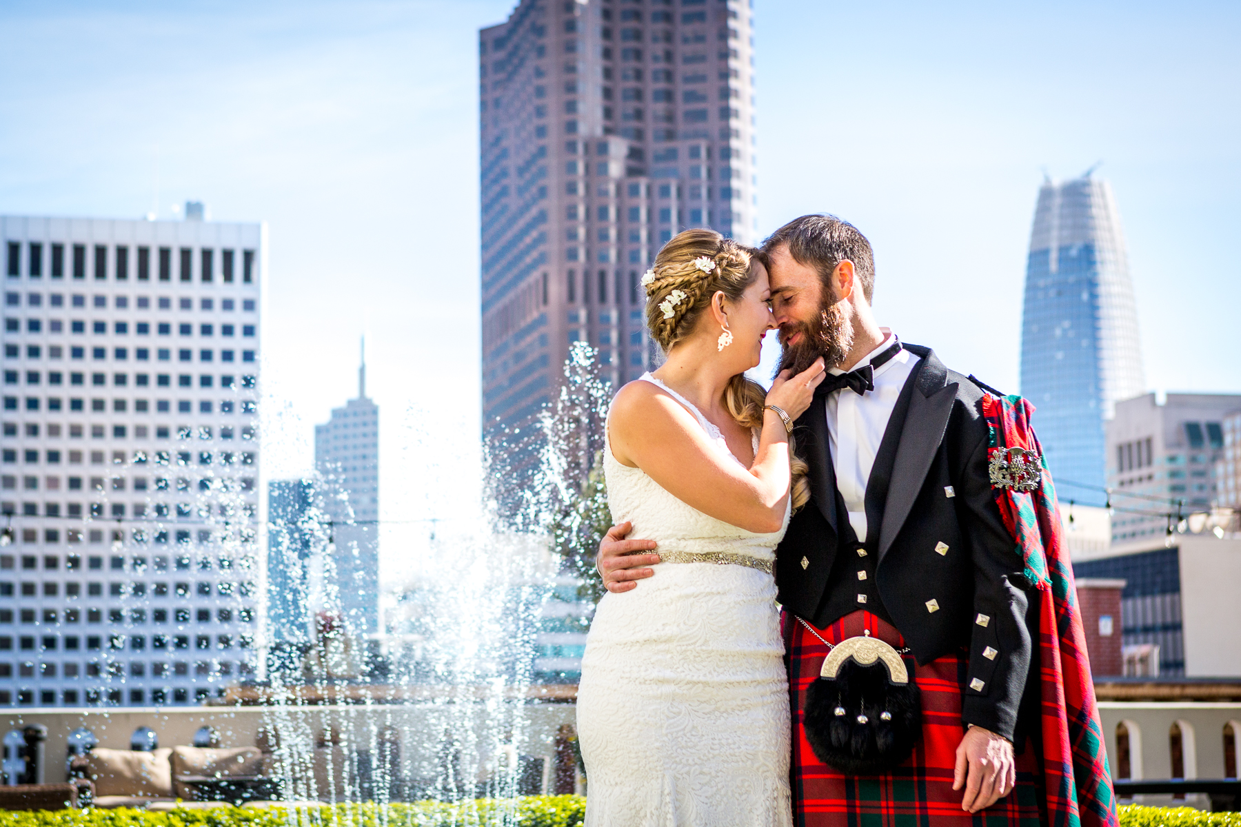 bride touches scottish groom beard at wedding in bay area photos