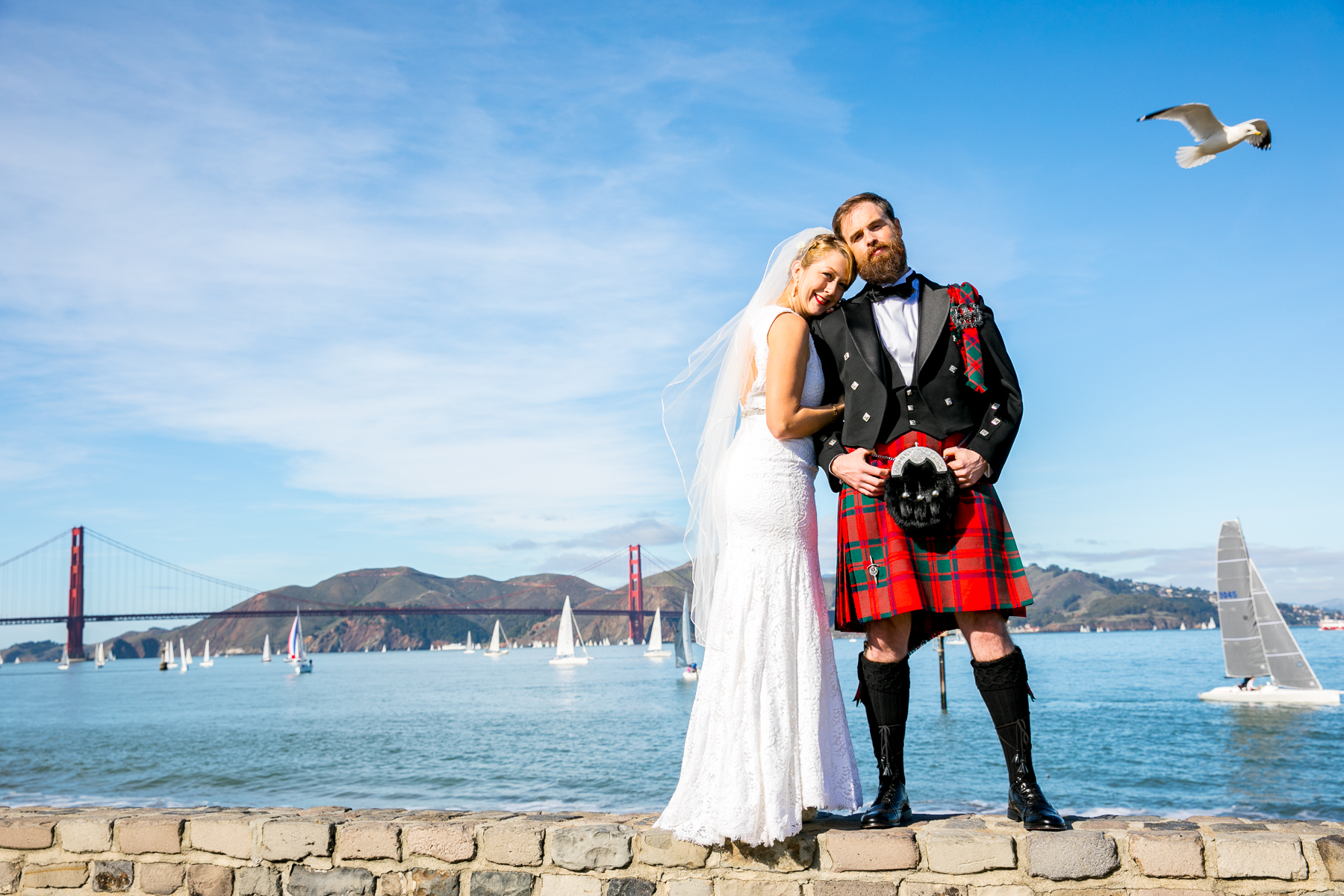 bride and groom portrait in san francisco seagull flies by wedding photographer