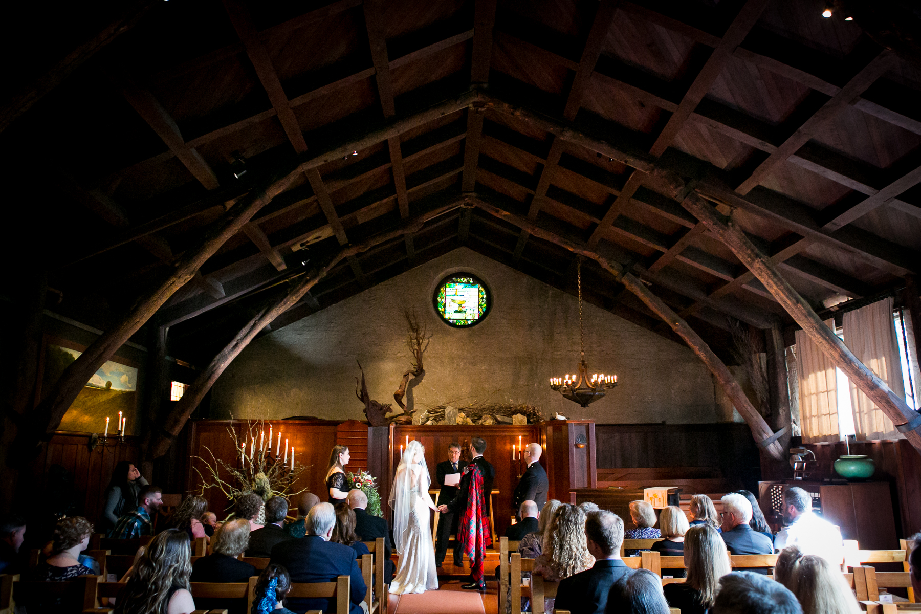 wide shot of san francisco wedding at swedenborgian church photographer
