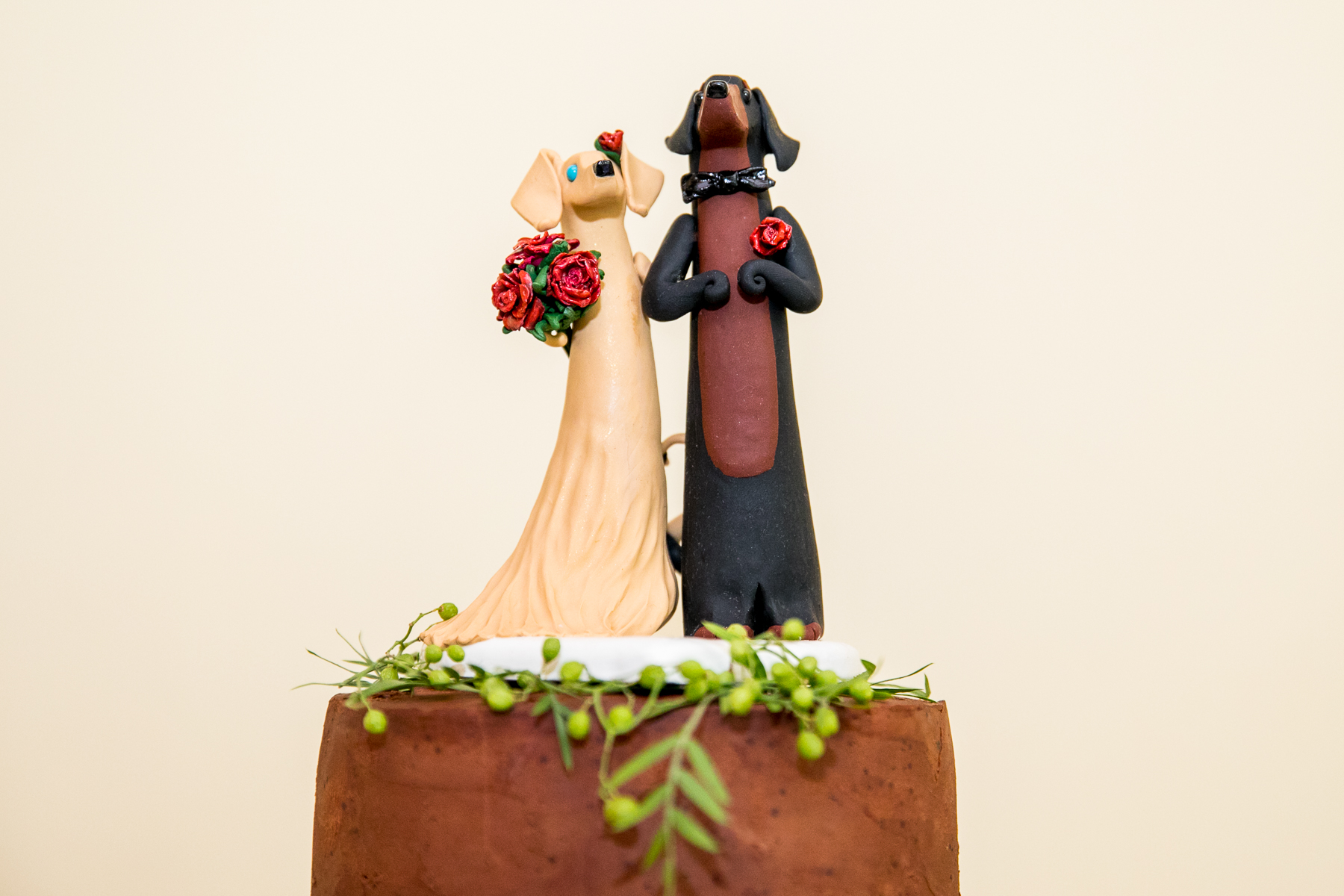 bride and groom dachshund cake topper san francisco wedding photos