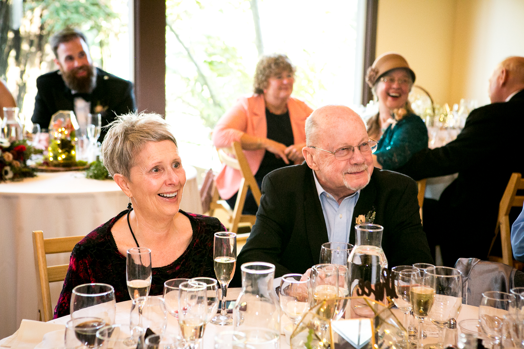 groom parent reactions during wedding toast at swedenborgian church photo
