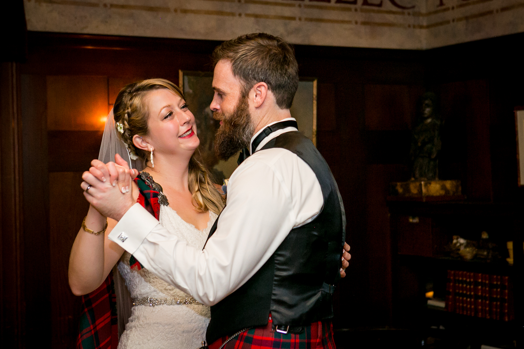 bride and groom first dance during wedding reception at swedenborgian church in san francisco best wedding photographer