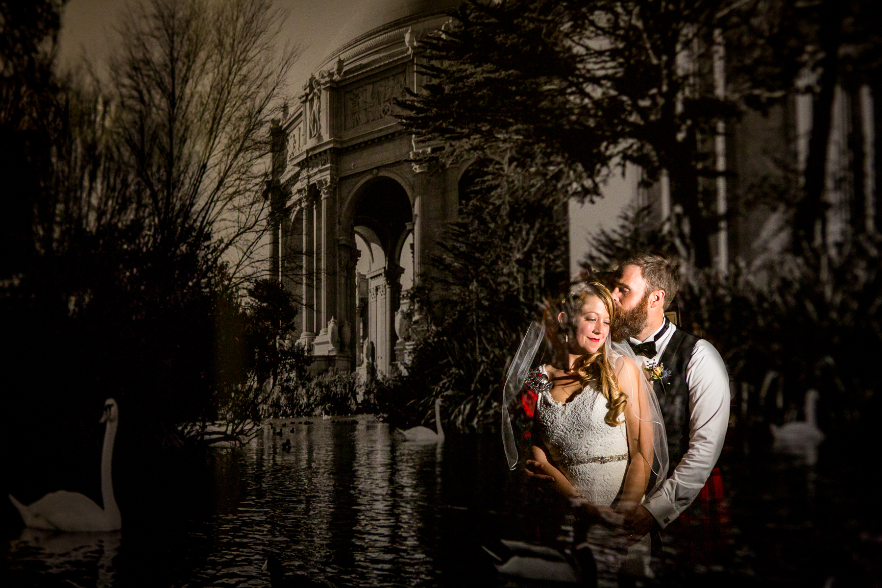 creative multiple exposure in-camera fine arts building and beautiful scottish wedding photographer in san francisco